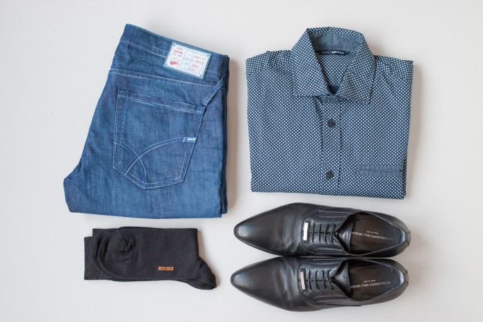 Rocksock casual outfit, shirt, jeans, shoes and socks